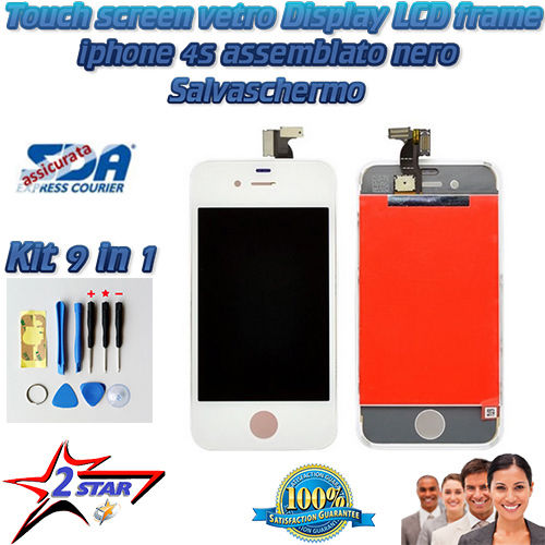 iPhone 4S Bianco LCD Display Frame Touch Screen Kit Smontaggio 12 in 1  Vetro A1387 A1431  Apple