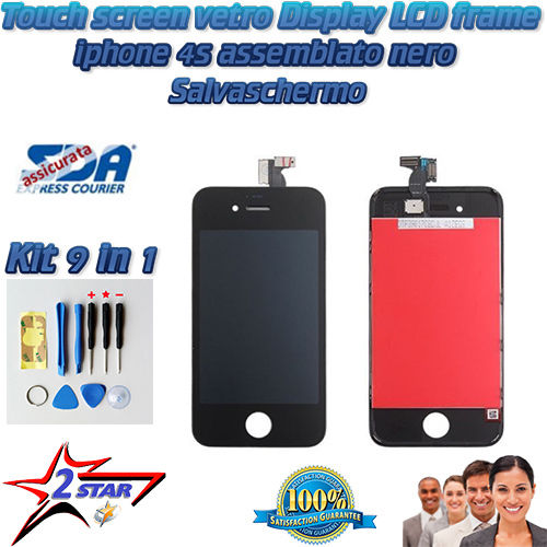 iPhone 4S Nero LCD Display Frame Touch Screen Kit Smontaggio 12 in 1  Vetro A1387 A1431  Apple