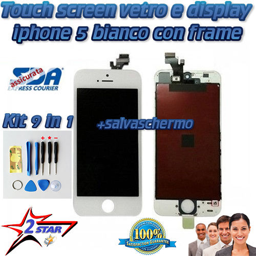 LCD Display Bianco Touch Screen iPhone 5 Kit Smontaggio 12 in 1 Salvaschermo  A1428 A1429 A1442 Frame