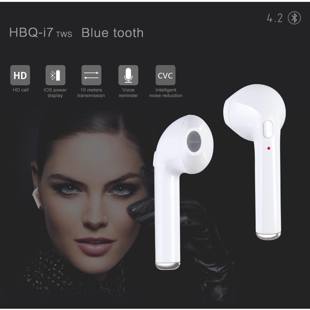 AURICOLARE BLUETOOTH HBQ-I7 L CUFFIA WIRELESS MICROFONO IPHONE 7 IOS ANDROID UNIVERSALE