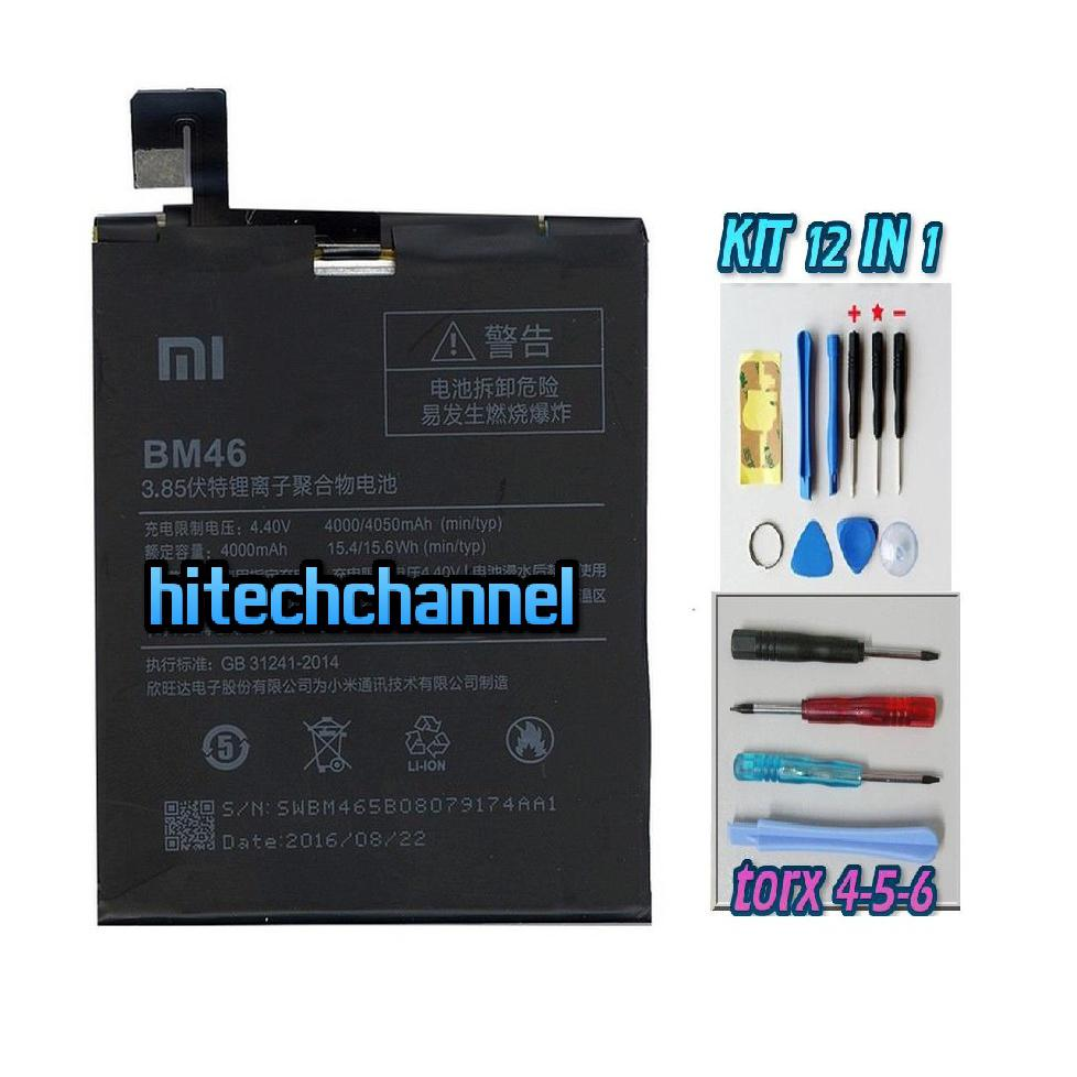BATTERIA originale per Xiaomi REDMI NOTE 3 PRO BM46 4000mAh+kit 9 in 1 e biadesivo
