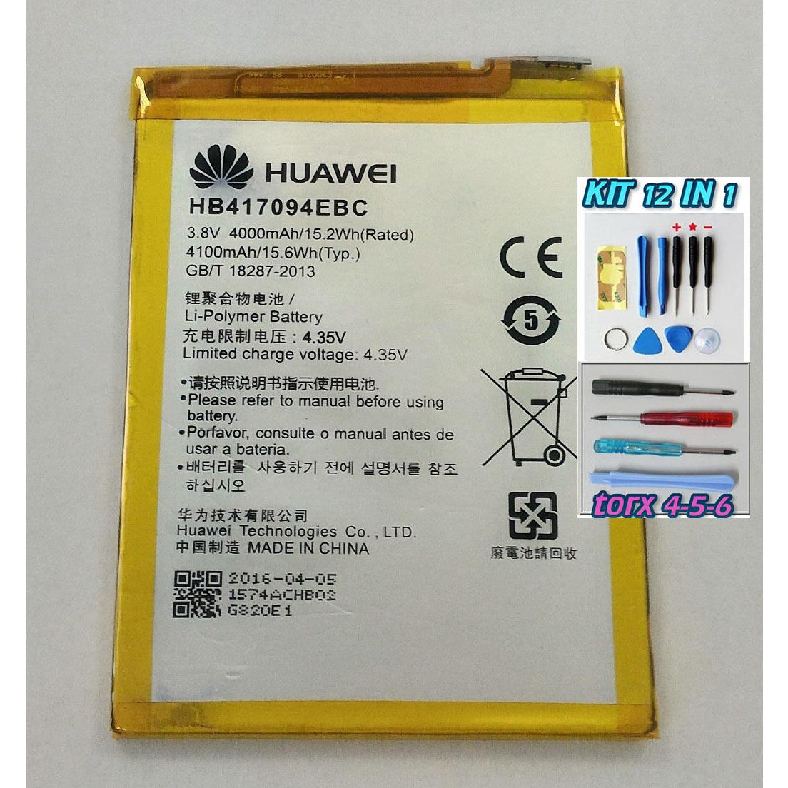 Batteria PER HUAWEI ASCEND MATE 7 HB417094EBC 4000 mAh ORIGINALE +KIT 12 IN 1