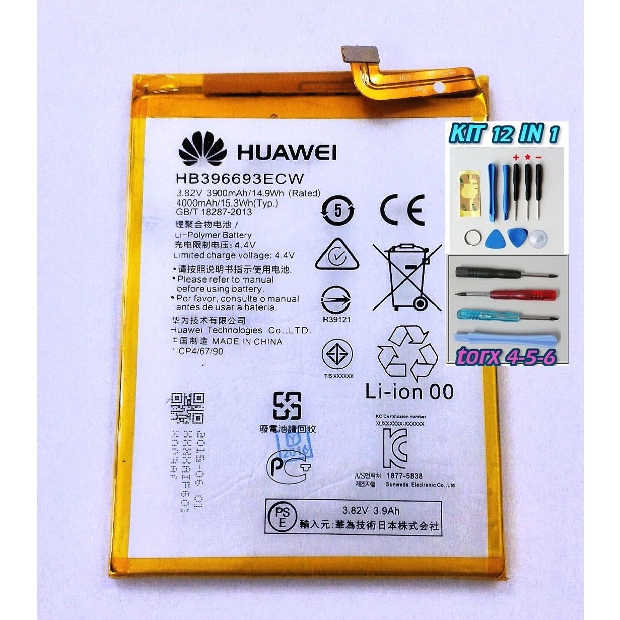 Batteria originale PER HUAWEI ASCEND MATE 8 HB396693ECW DA 3900 mAh+kit 12 in 1 e biadesivo