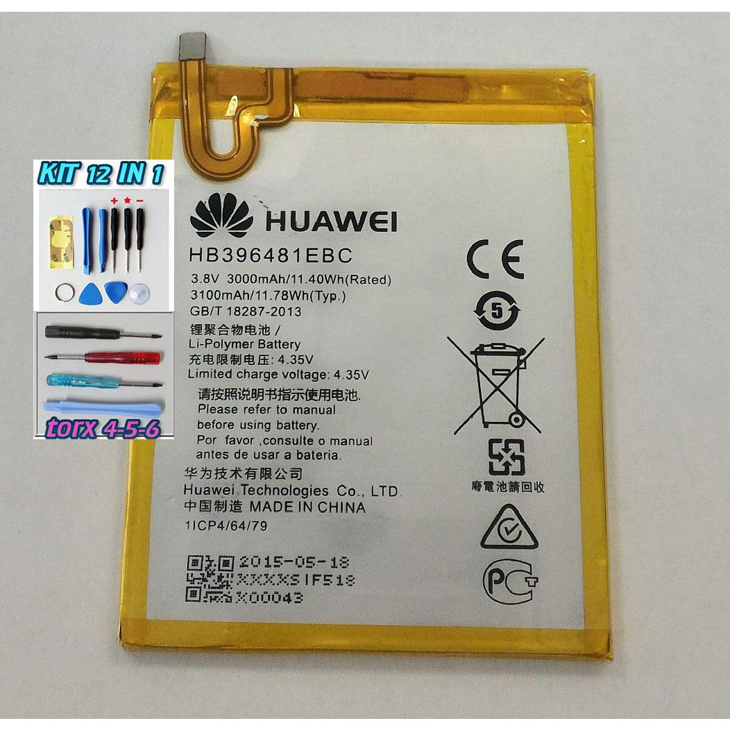 Batteria PER HUAWEI G8 HB396481EBC 3000 mAh ORIGINALE +KIT 12 IN 1