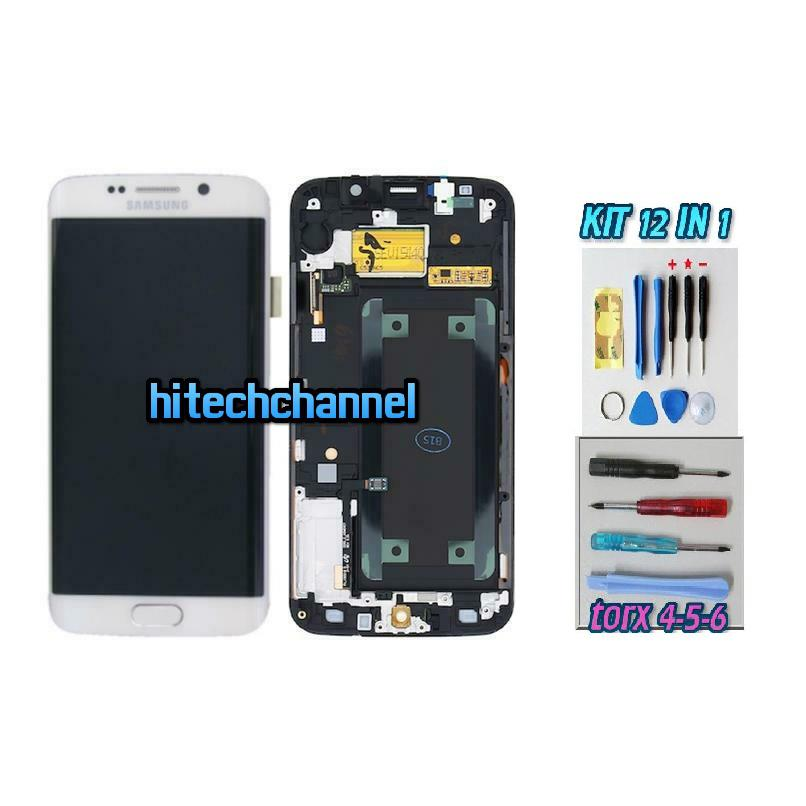 DISPLAY ORIGINALE SERVICE PACK LCD TOUCH SAMSUNG GALAXY S6 EDGE G925 BIANCO GH97-17162A con kit e biadesivo