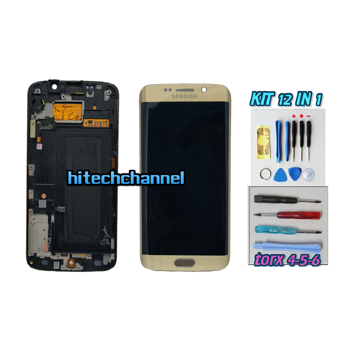 DISPLAY ORIGINALE SERVICE PACK LCD TOUCH SAMSUNG GALAXY S6 EDGE G925 ORO GOLD GH97-17262A con kit e biadesivo