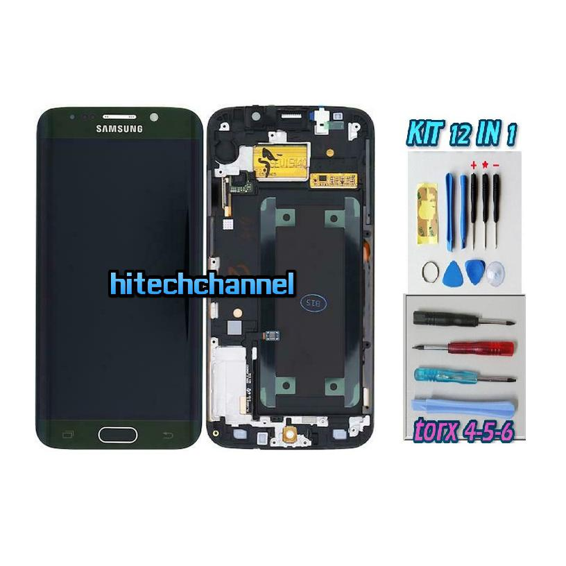 DISPLAY ORIGINALE SERVICE PACK LCD TOUCH SAMSUNG GALAXY S6 EDGE G925 VERDE GH97-17262A con kit e biadesivo