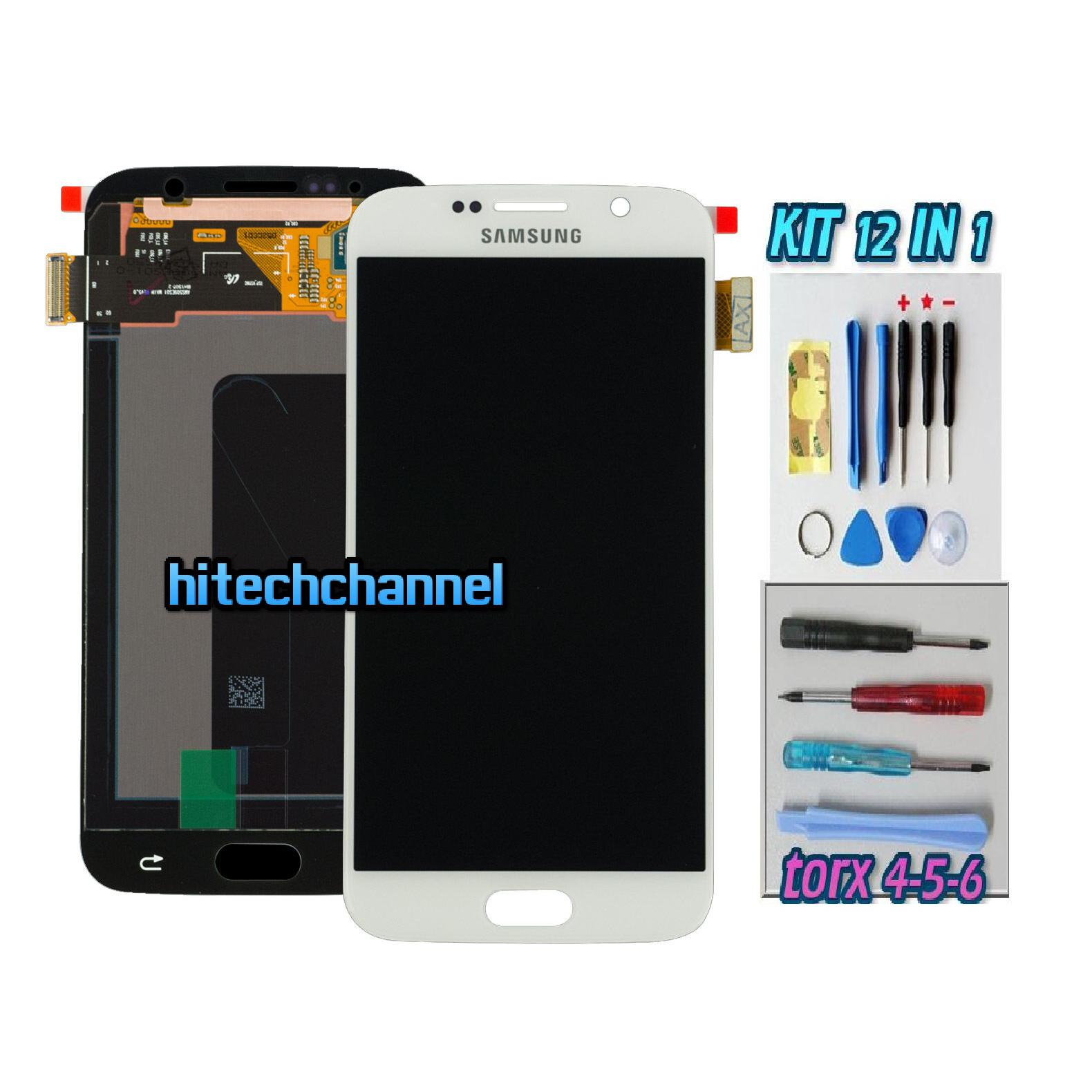 DISPLAY ORIGINALE SERVICE PACK LCD TOUCH SAMSUNG GALAXY S6 G920 BIANCO GH97-17260A con kit e biadesivo