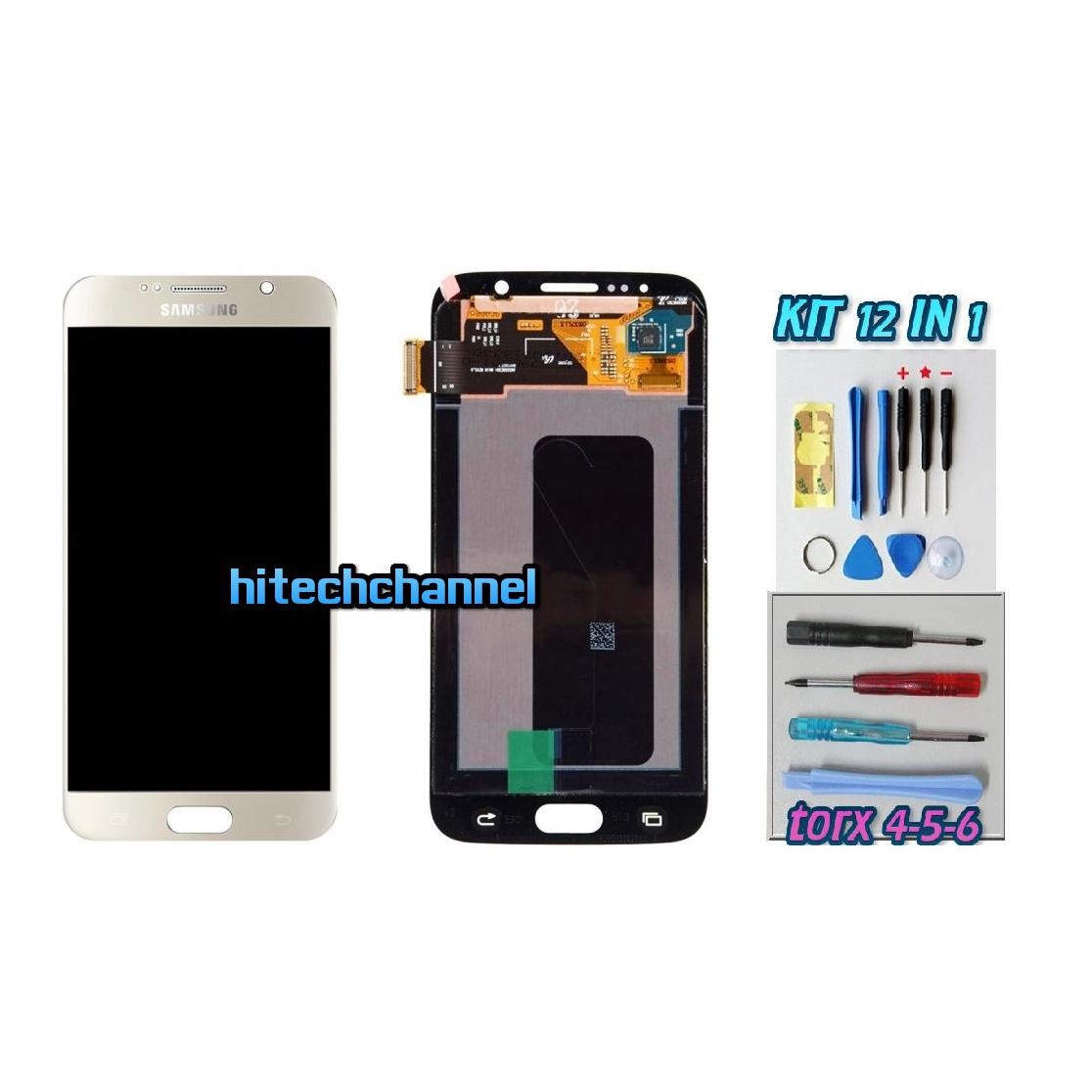 DISPLAY ORIGINALE SERVICE PACK LCD TOUCH SAMSUNG GALAXY S6 G920 ORO GOLD GH97-17260A con kit e biadesivo