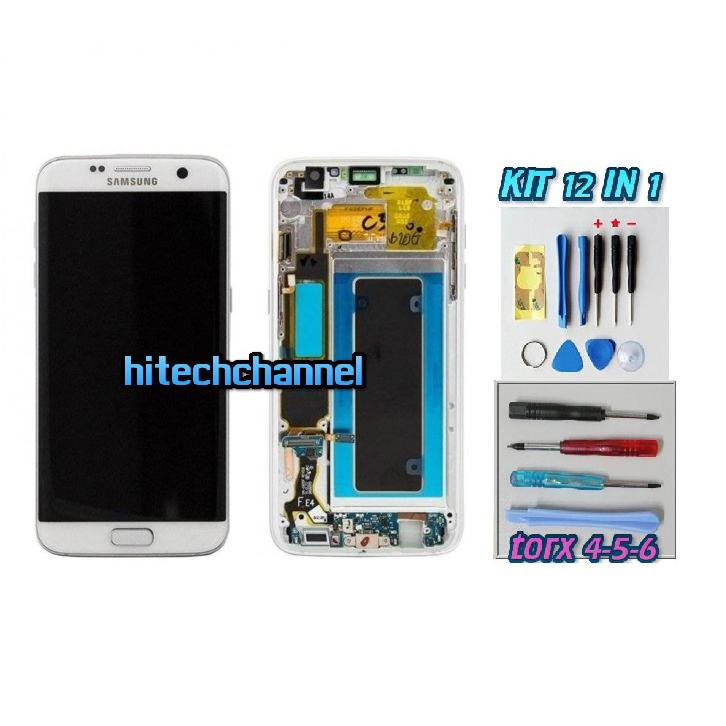 DISPLAY ORIGINALE SERVICE PACK LCD TOUCH SAMSUNG GALAXY S7 EDGE G935 BIANCO GH97-18533C con kit e biadesivo