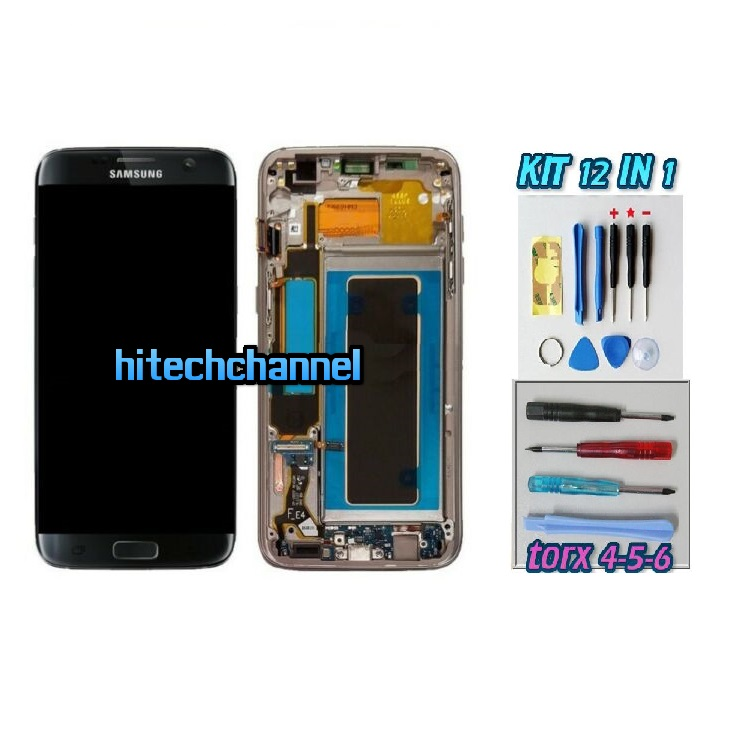 DISPLAY ORIGINALE SERVICE PACK LCD TOUCH SAMSUNG GALAXY S7 EDGE G935 NERO GH97-18533C con kit e biadesivo