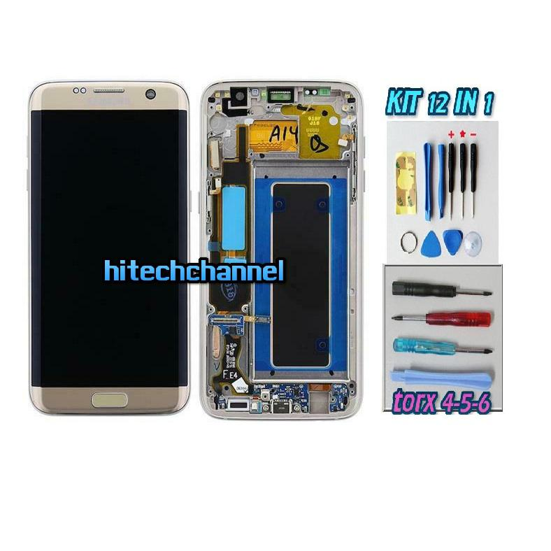 DISPLAY ORIGINALE SERVICE PACK LCD TOUCH SAMSUNG GALAXY S7 EDGE G935 ORO GOLD GH97-18533C con kit e biadesivo