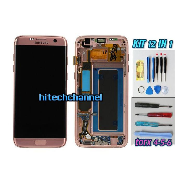 DISPLAY ORIGINALE SERVICE PACK LCD TOUCH SAMSUNG GALAXY S7 EDGE G935 ROSA GH97-18533C con kit e biadesivo