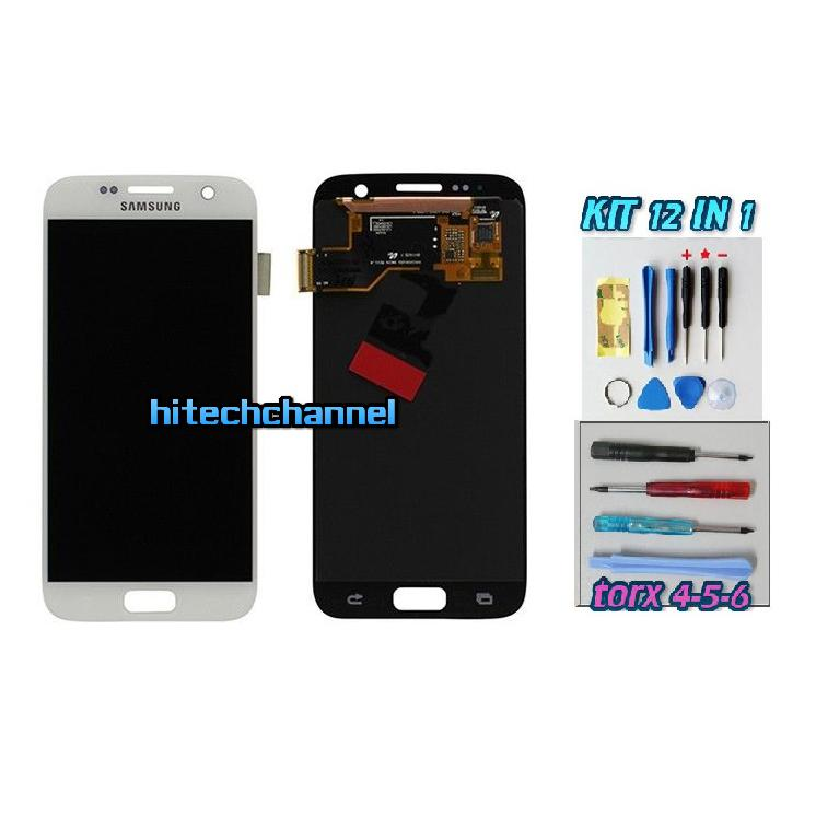 DISPLAY ORIGINALE SERVICE PACK LCD TOUCH SAMSUNG GALAXY S7 G930 BIANCO GH97-18523C con kit e biadesivo