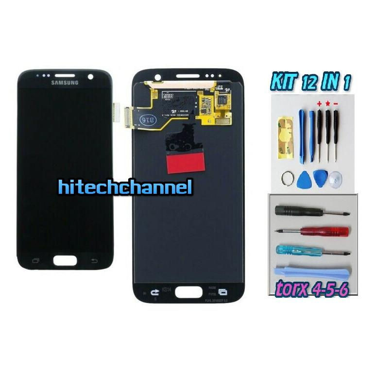 DISPLAY ORIGINALE SERVICE PACK LCD TOUCH SAMSUNG GALAXY S7 G930 NERO GH97-18523C con kit e biadesivo