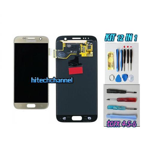 DISPLAY ORIGINALE SERVICE PACK LCD TOUCH SAMSUNG GALAXY S7 G930 ORO GOLD GH97-18523C con kit e biadesivo