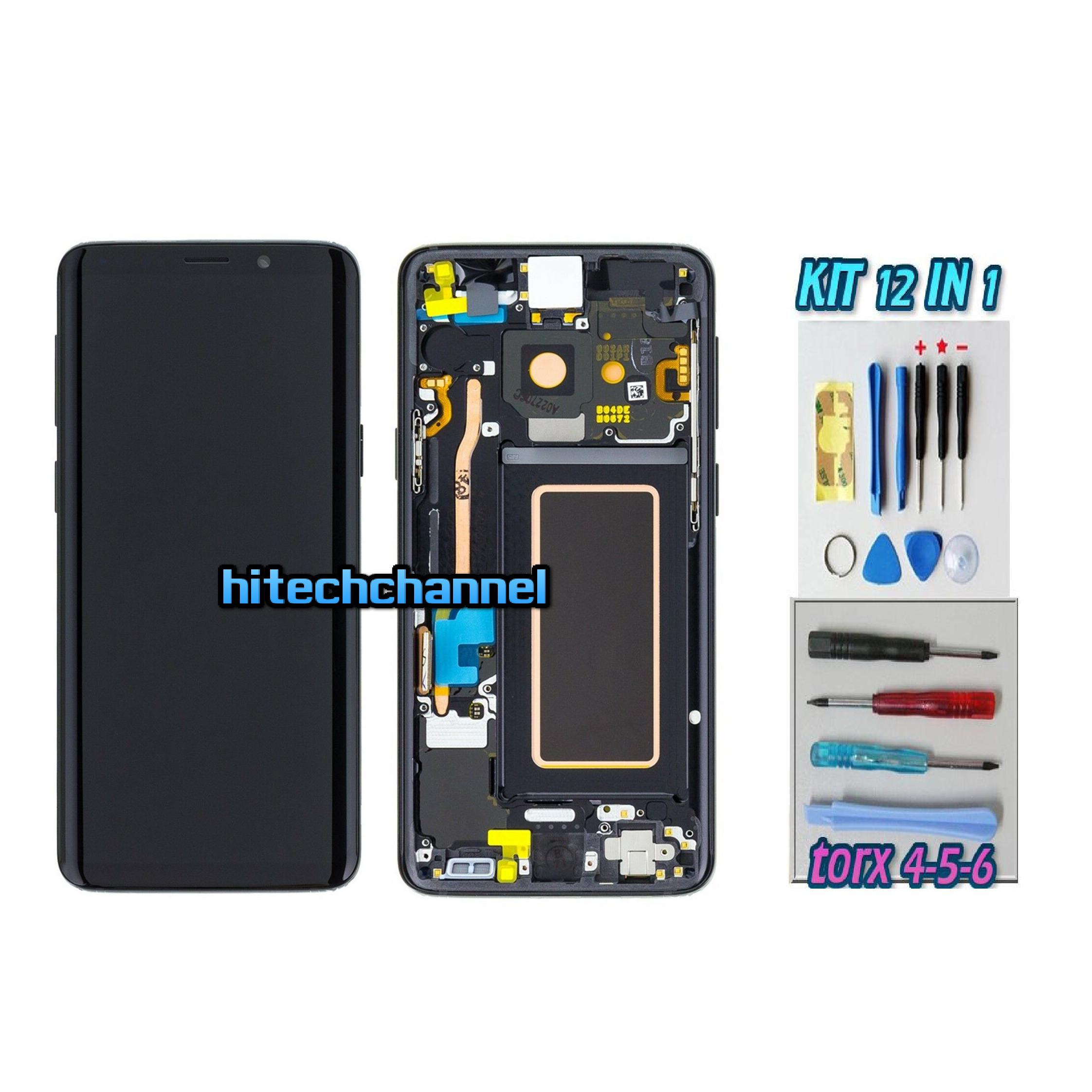 DISPLAY ORIGINALE SERVICE PACK LCD TOUCH SAMSUNG GALAXY S9 G960 NERO con kit e biadesivo