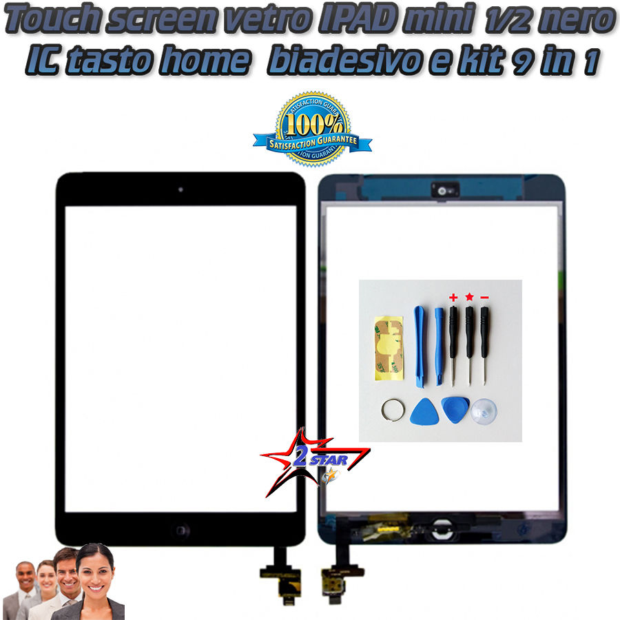Touch Screen Con Tasto Home e IC PCB iPad Mini 1 2  Nero  + TOP QUALITA' Biadesivo Incluso A1432 A1454 A1455 A1489 A1490