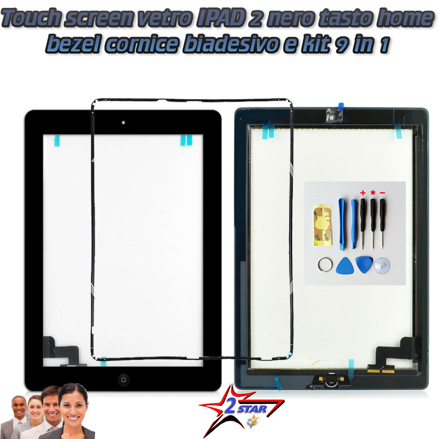 Touch screen IPAD 2 A1395 A1396 A1397 NERO TOP QUALITA' Biadesivo Incluso Frame Tasto Home Kit Smontaggio 12 in 1