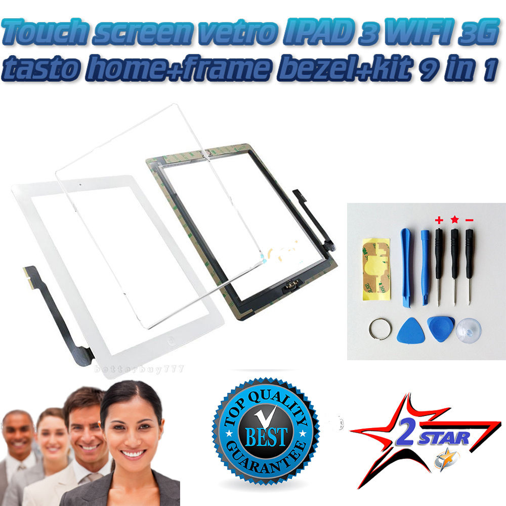 Touch Screen Bianco per Apple Ipad 3 A1416 A1430 A1403 TOP QUALITA'+ Frame + Biadesivo + Tasto Home Con Flex