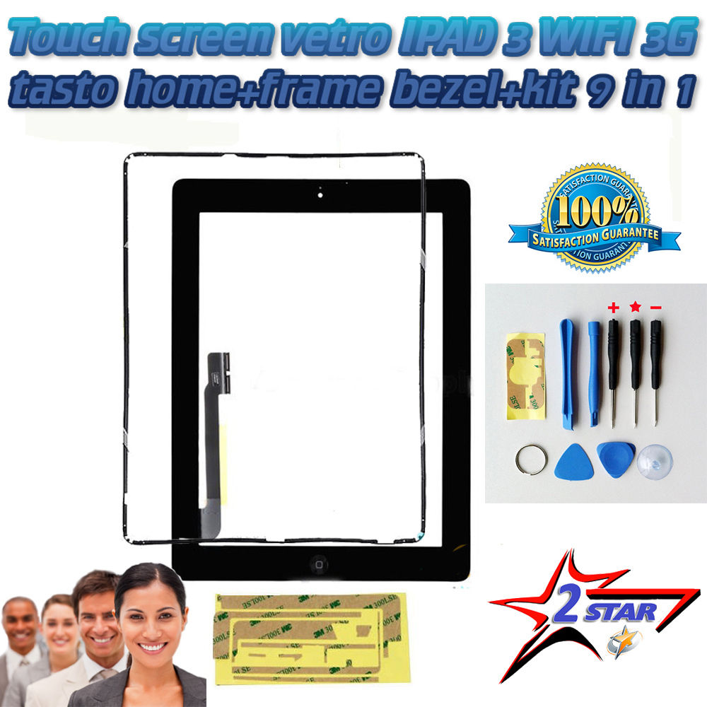 Touch Screen Nero per Apple Ipad 3 A1416 A1430 A1403 TOP QUALITA'+ Frame + Biadesivo + Tasto Home Con Flex
