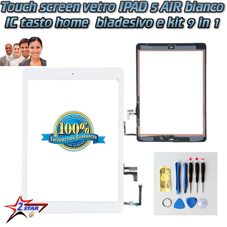 iPad 5 Air Touch Screen Vetro Bianco  A1474 A1475 A1476 Biadesivo Incluso Tasto Home Flex
