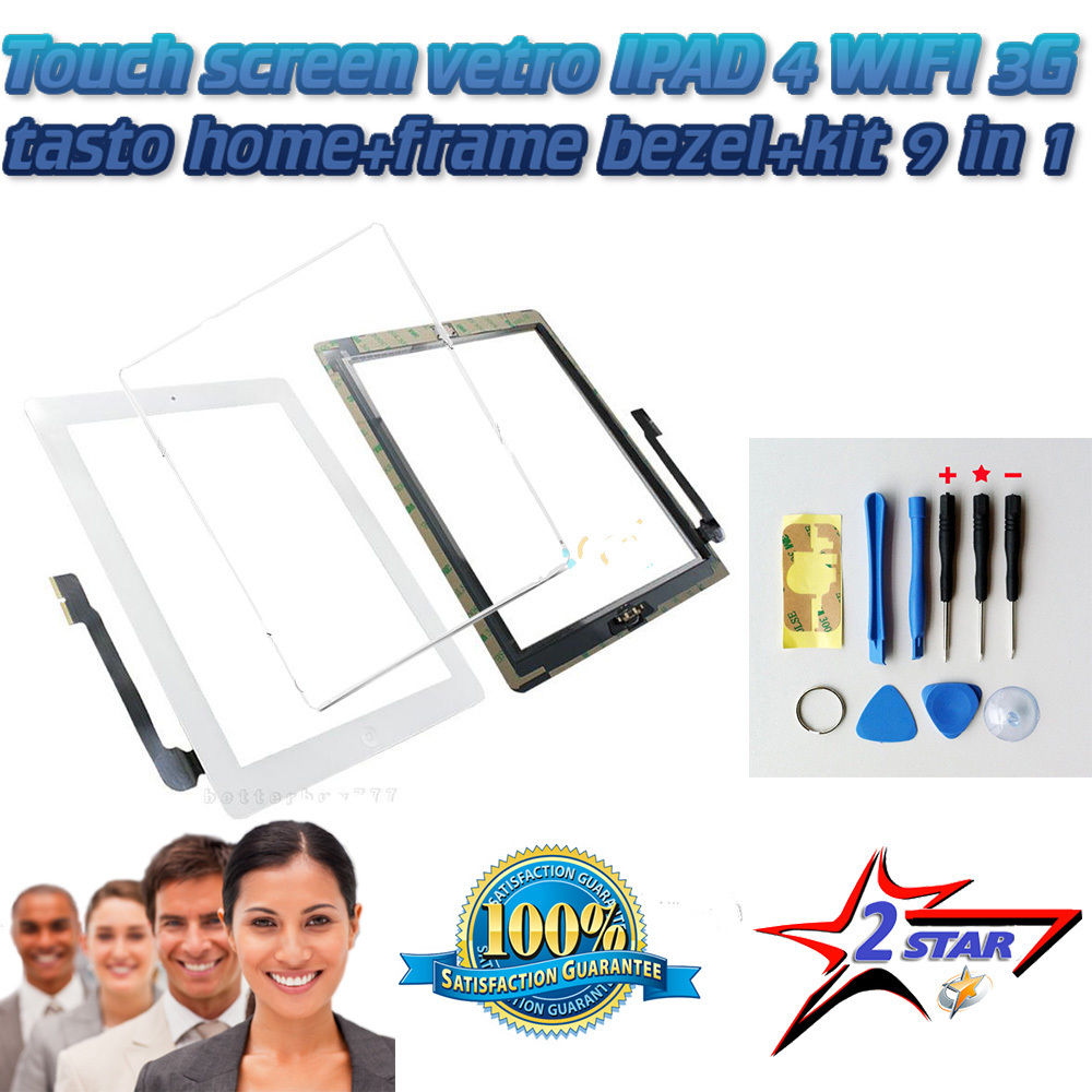 Touch Screen Bianco per Apple Ipad 4 A1458 A1459 A1460 TOP QUALITA'+ Frame + Biadesivo + Tasto Home Con Flex