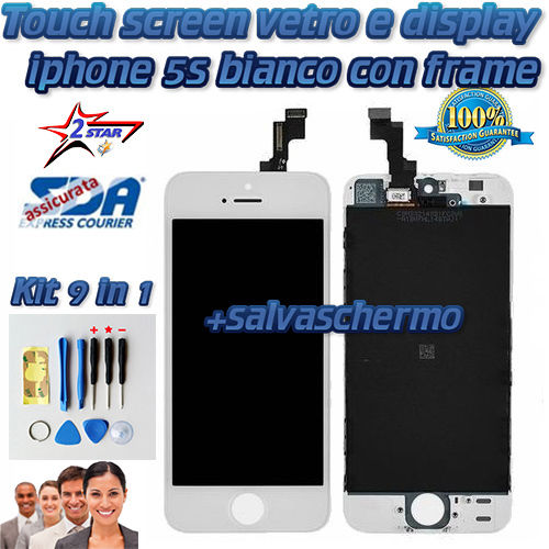 LCD Display e Touch Screen iPhone 5S Bianco Salvaschermo  Kit Smontaggio 12 in 1 TOP QUALITA' A1533 A1457 A1530 A1453 A1518 A1528
