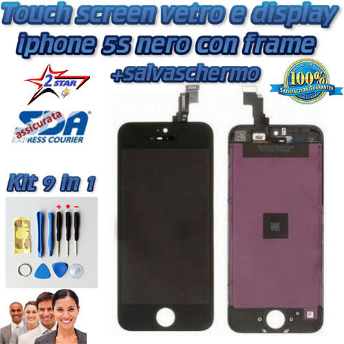 LCD Display e Touch Screen iPhone 5S Nero Salvaschermo  Kit Smontaggio 12 in 1  TOP QUALITA' A1533 A1457 A1530 A1453 A1518 A1528