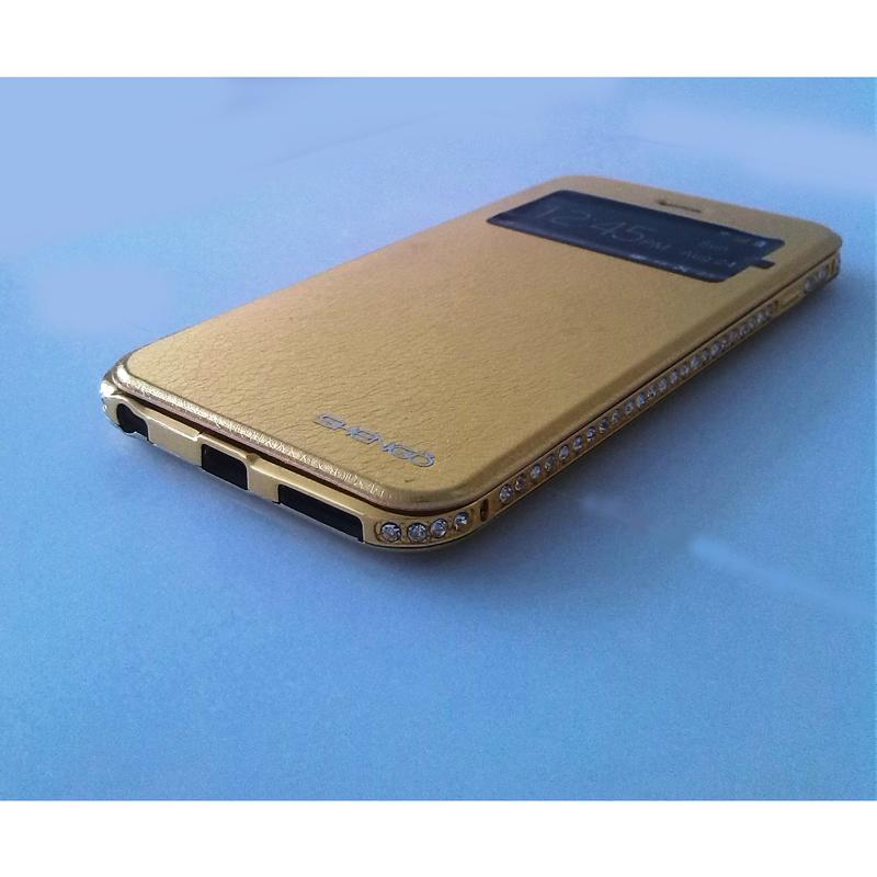 Custodia De Luxe Shengo per iPhone 6 Plus Gold Oro con Bumper Diamanti
