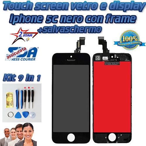 LCD Display e Touch Screen iPhone 5C Nero TOP QUALITA' A1532 A1507 A1529 A1456 A1516 A1526 Kit Smontaggio 12 in 1
