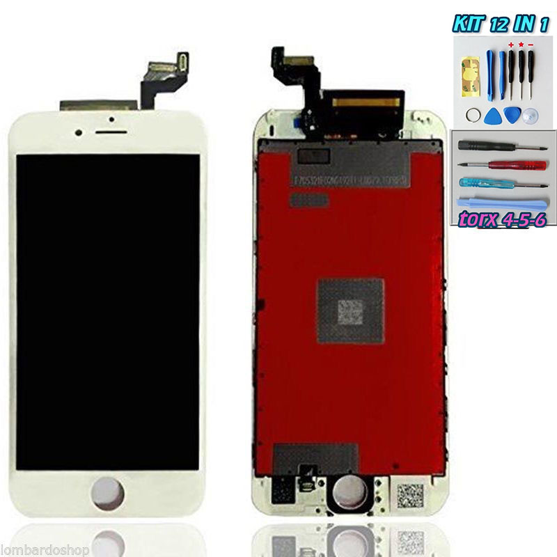 iPhone 6S LCD Bianco Touch Screen Apple Display + Kit Smontaggio 12 in 1 A1633  A1634  A1688  A1687  A1699  A1700