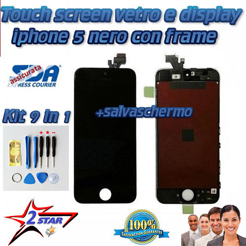 Display e Touch Screen con Frame Iphone 5 5G Nero Kit 12 in 1 Smontaggio Top Qualità A1428 A1429 A1442