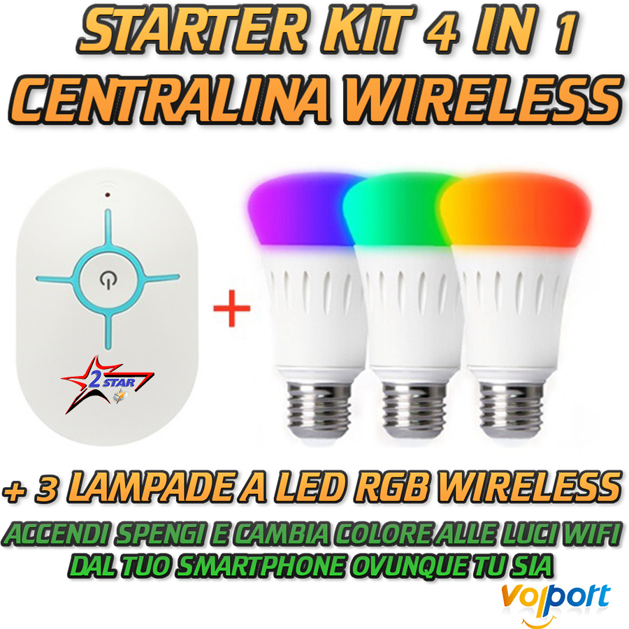 VOLPORT SMART HOME STARTER KIT 4 IN 1 CENTRALE WIFI + 3 LAMPADE A LED RGB WIFI