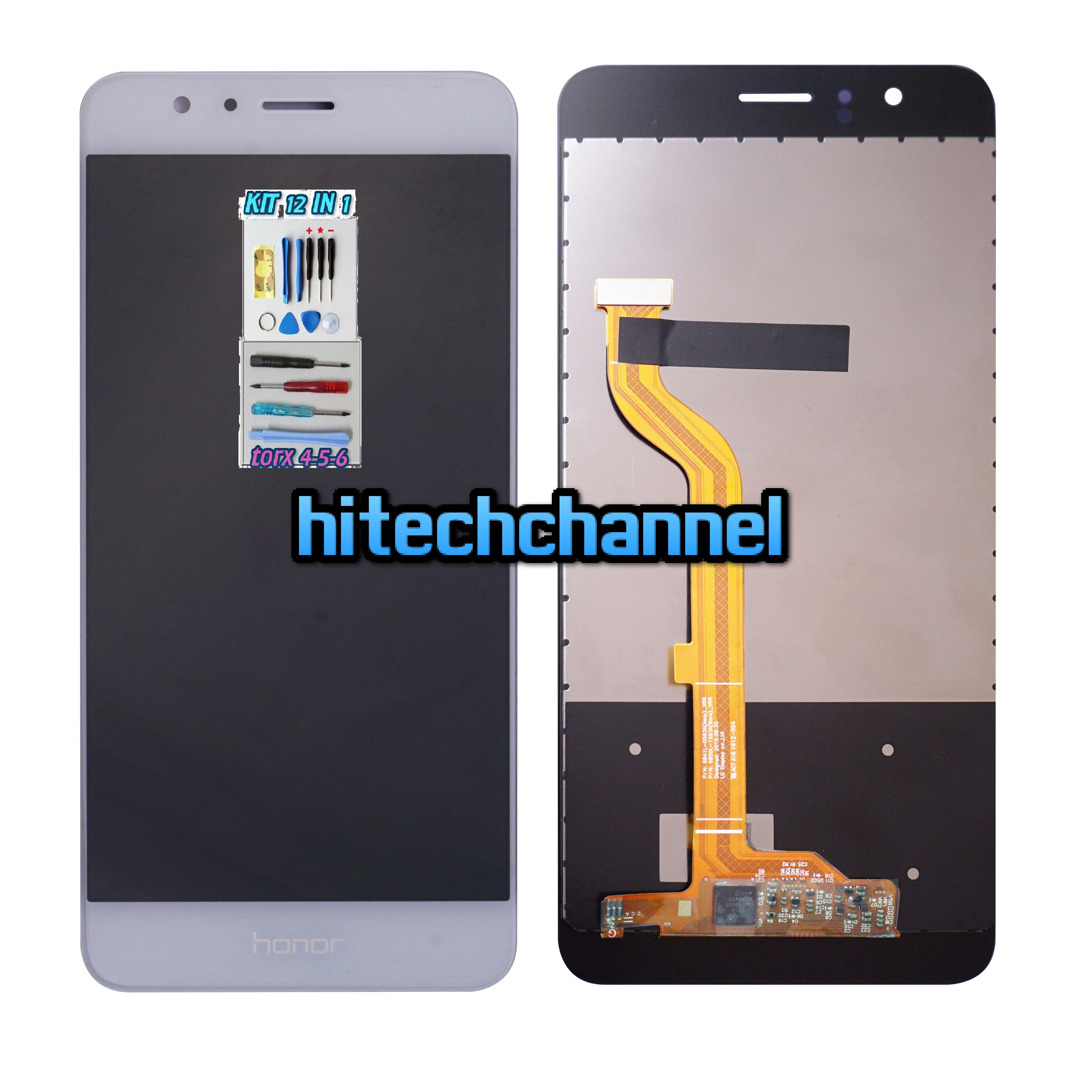 LCD DISPLAY TOUCH SCREEN ORIGINALE Per HUAWEI HONOR 8 BIANCO FDR-L09+ kit 9 in 1+biadesivo