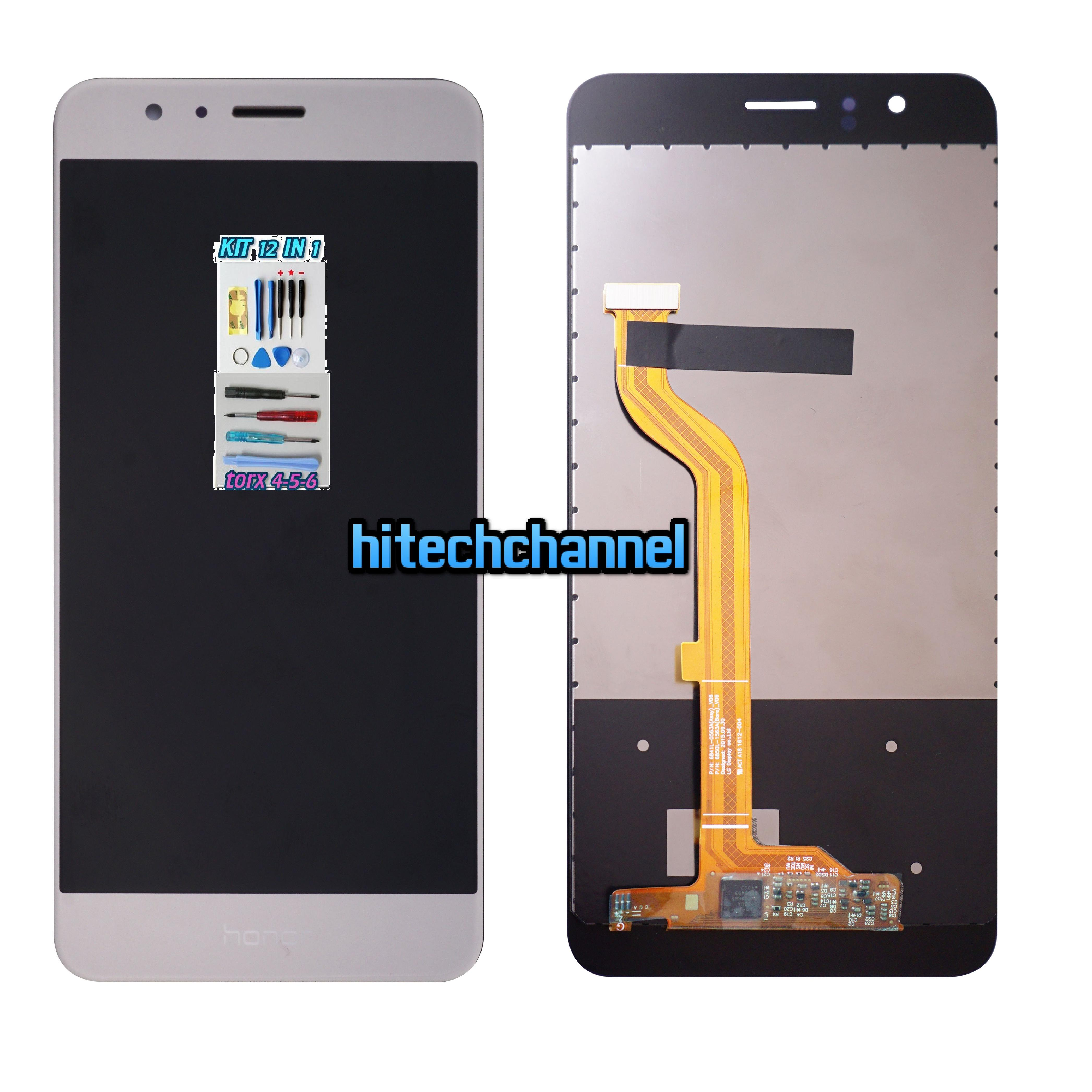 LCD DISPLAY TOUCH SCREEN ORIGINALE Per HUAWEI HONOR 8 ORO GOLD FDR-L09+ kit 9 in 1+biadesivo