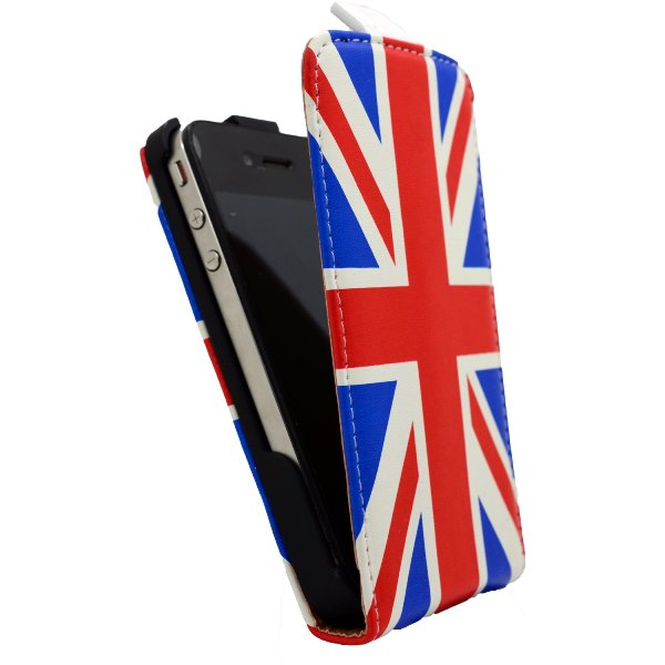 CUSTODIA IN PELLE IPHONE 4G 4S BANDIERA UK ENGLAND