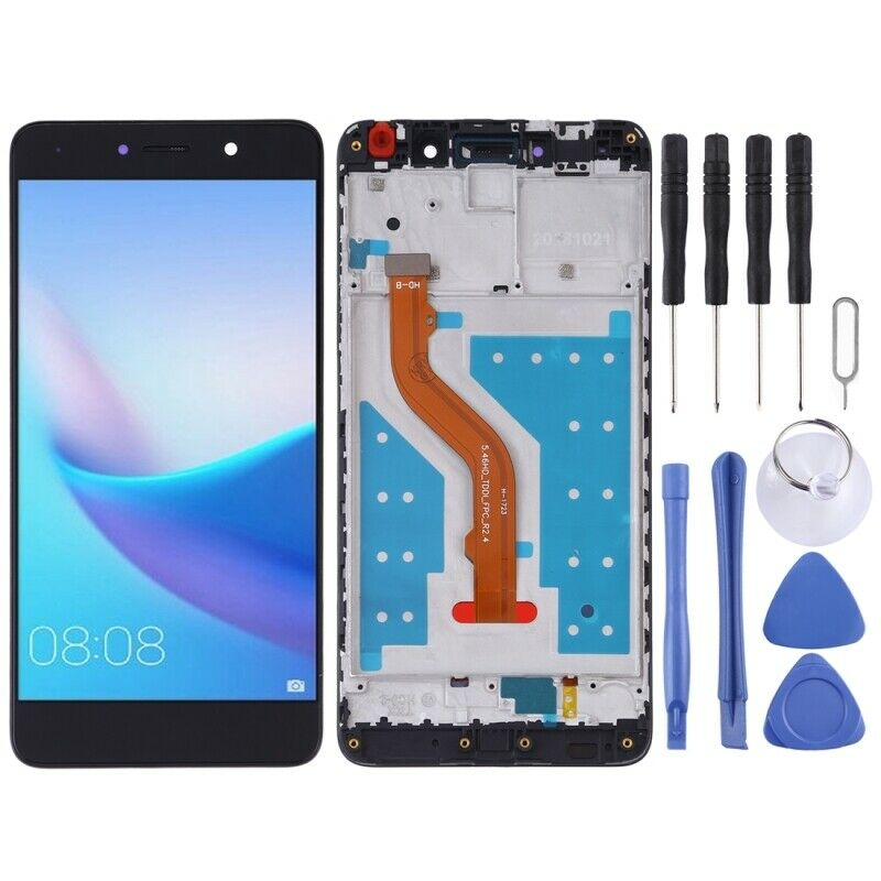 Touch screen display lcd con frame HUAWEI NOVA LITE PLUS Y7 2017 TRT-LX1 NERO +colla B7000 + kit 9 in 1+biadesivo