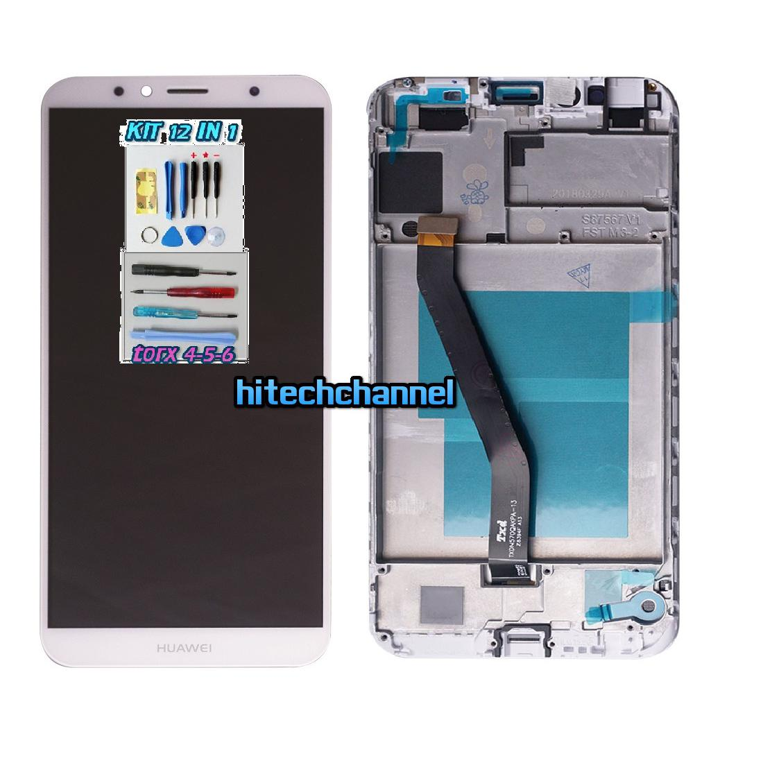 Touch screen display lcd FRAME BIANCO HUAWEI Y6 2018 AUM-L29 E HONOR 7A +colla B7000 kit 9 in 1 e biadesivo