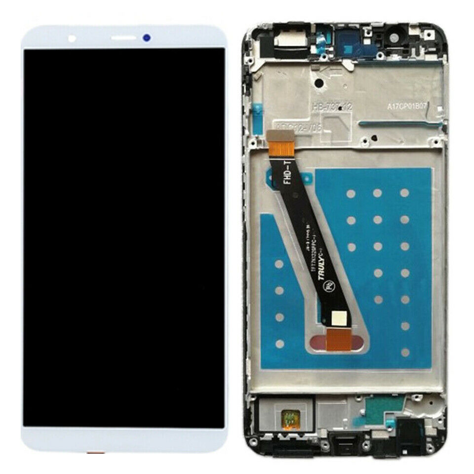 TOUCH SCREEN DISPLAY LCD FRAME BIANCO per HUAWEI P SMART FIG LX1 +colla B7000 kit 9 in 1 e biadesivo
