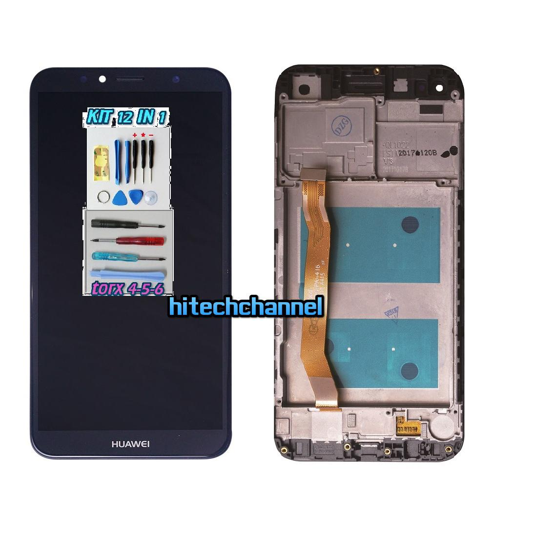 Touch screen display lcd FRAME NERO HUAWEI Y6 2018 AUM-L29 E HONOR 7A kit 9 in 1 e BIADESIVO