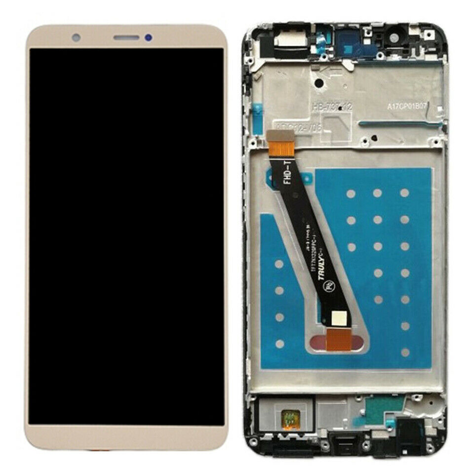 TOUCH SCREEN DISPLAY LCD FRAME ORO GOLD per HUAWEI P SMART FIG LX1 +colla B7000 kit 9 in 1 e biadesivo