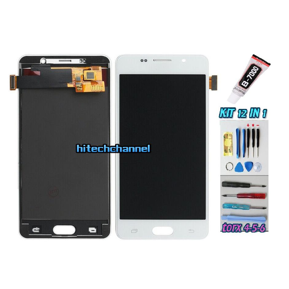 TOUCH SCREEN LCD DISPLAY BIANCO per Samsung GALAXY A5 2016 SM-A510F 510DS + kit 9 in 1 colla b7000 e biadesivo