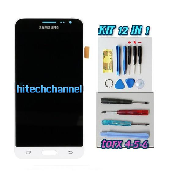 TOUCH SCREEN LCD DISPLAY BIANCO Samsung Galaxy J3 2016 J320 SM-J320FN + kit 9 in 1 biadesivo e colla B7000