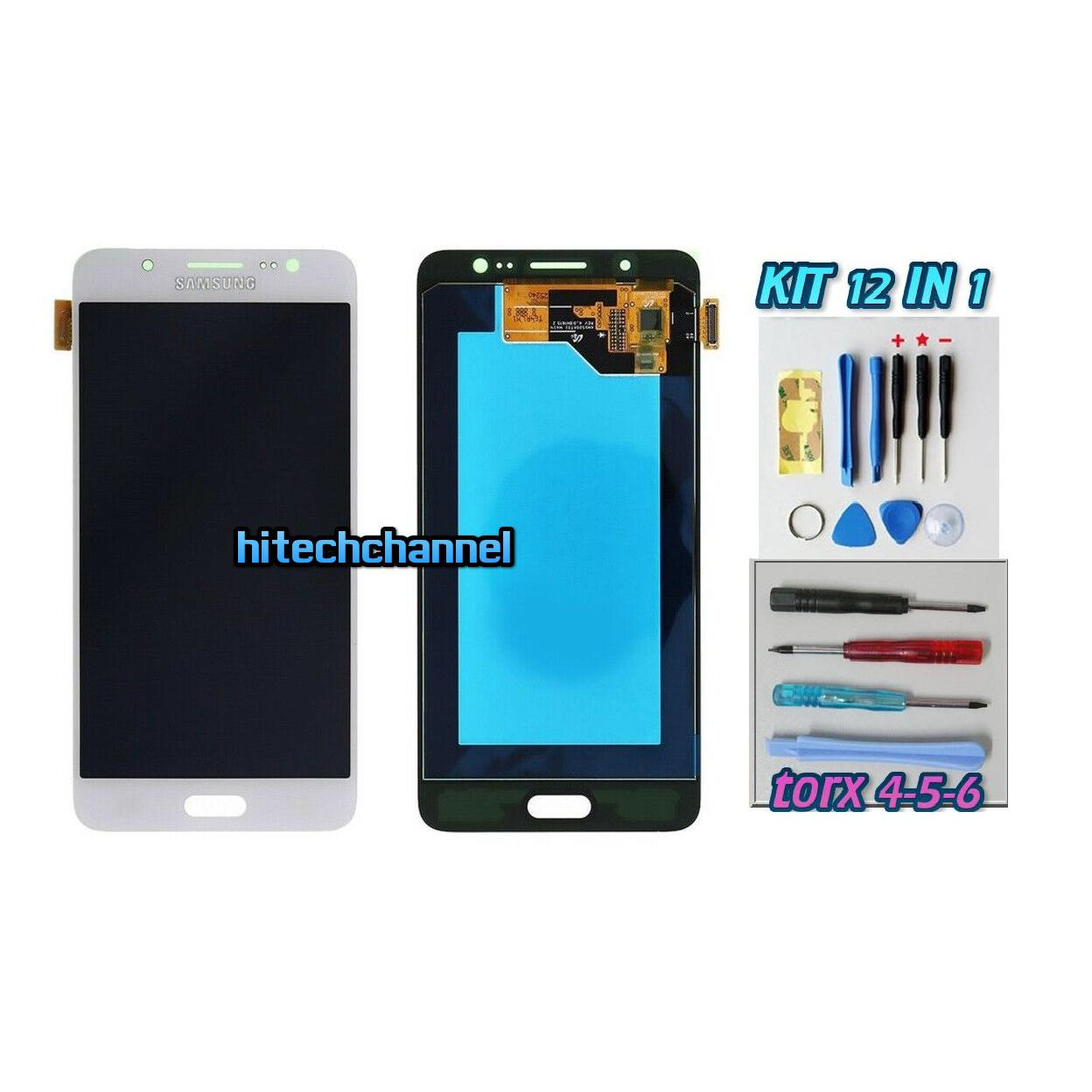 TOUCH SCREEN LCD DISPLAY BIANCO Samsung Galaxy J5 2016 SM-J510FN+kit 9 in 1 e biadesivo