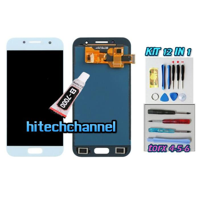 TOUCH SCREEN LCD DISPLAY BLU per Samsung A3 2017 A320 SM-A320F +b7000 kit biadesivo