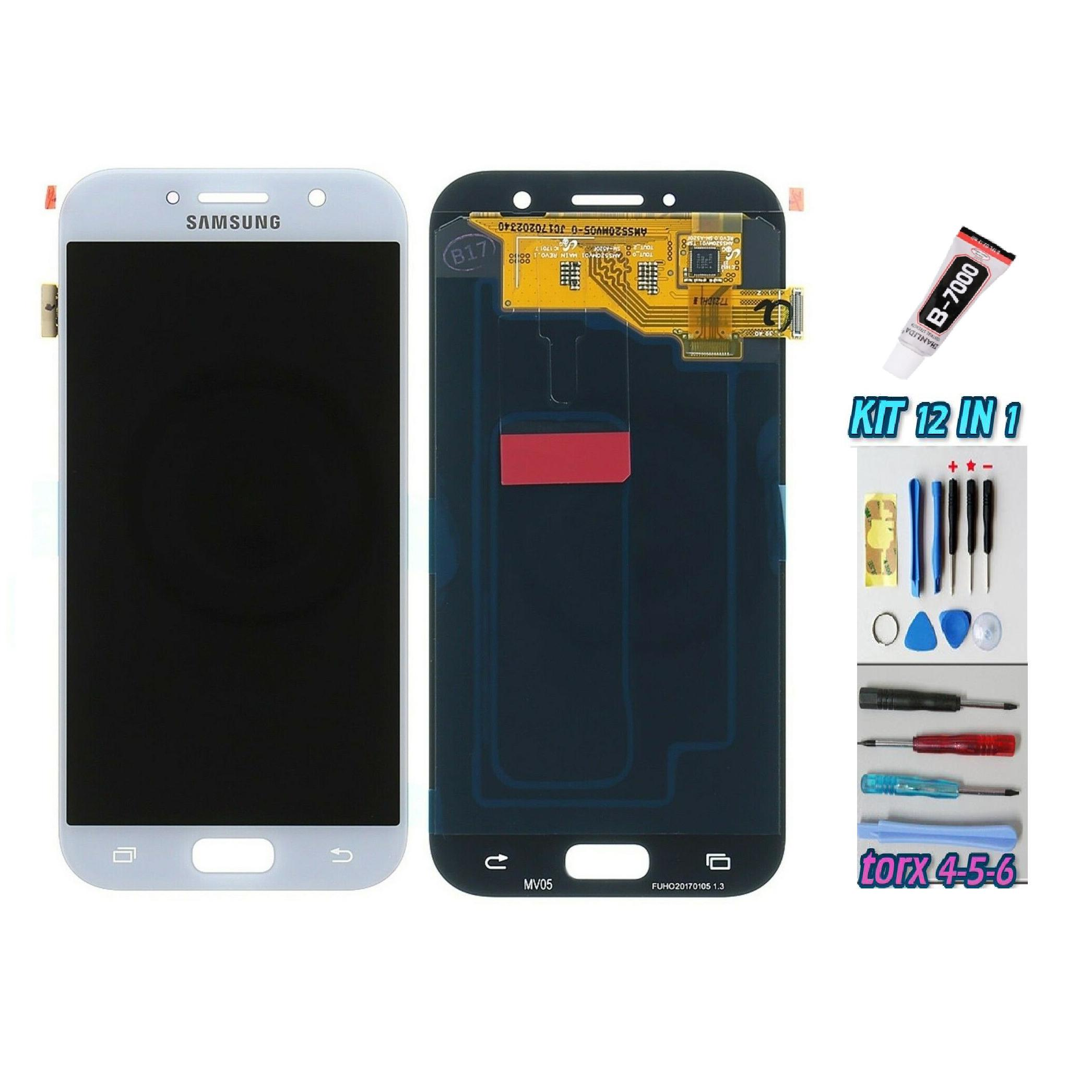 TOUCH SCREEN LCD DISPLAY BLU per Samsung GALAXY A5 2017 A520F SM-A520F + Kit 9 in 1 colla b7000 e biadesivo