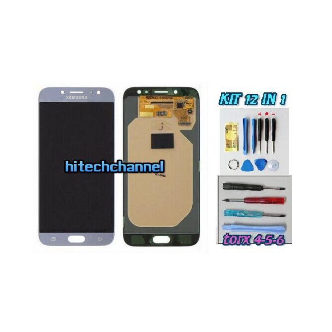 TOUCH SCREEN LCD DISPLAY BLU Samsung Galaxy J7 2017 J730 SM-J730F SM-J730F/DS+ kit 9 in 1 biadesivo e colla b7000