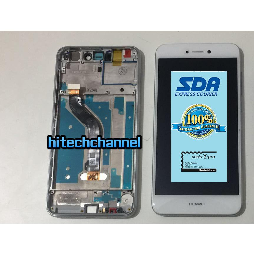 TOUCH SCREEN LCD DISPLAY CON FRAME HUAWEI ASCEND P8 LITE 2017 BIANCO