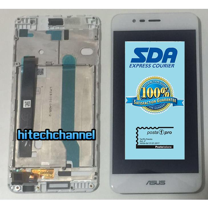 Touch screen lcd display CON FRAME per ASUS ZENFONE 3 MAX ZC520TL X008D  BIANCO +BIADESIVO